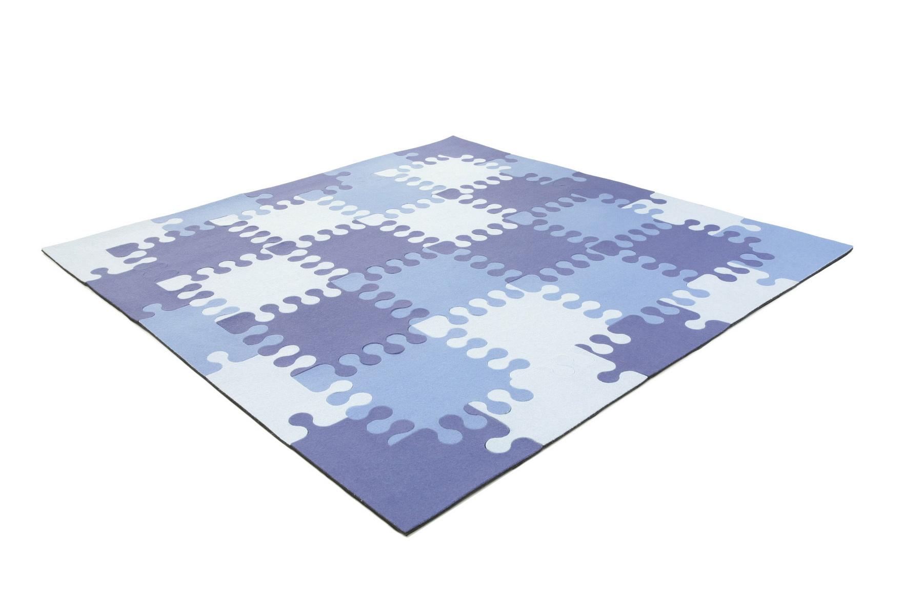 classics of wool de teppich puzzle blue. Black Bedroom Furniture Sets. Home Design Ideas